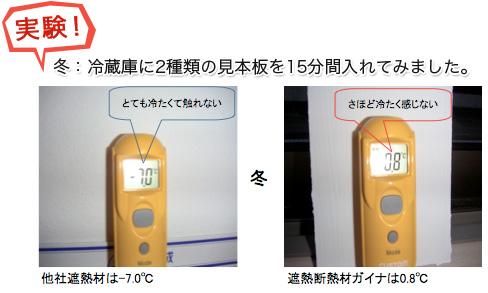 実験! 冬:冷蔵庫に2種類の見本板を15分間入れてみました。