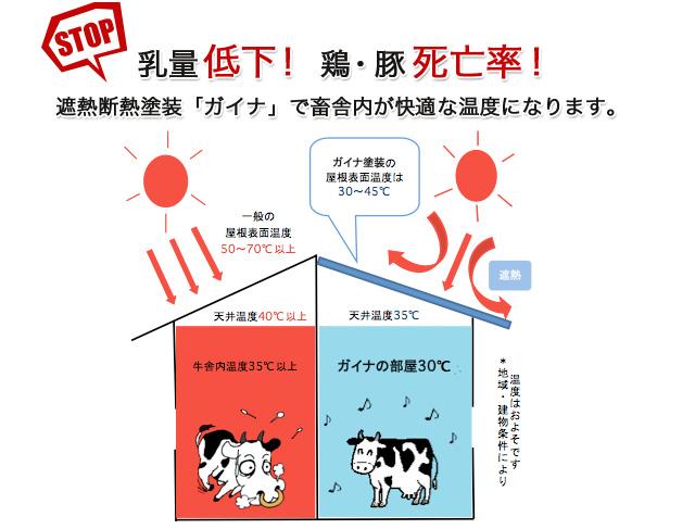 STOP! 乳量低下!鶏・豚死亡率! 遮熱断熱塗装「ガイナ」で畜舎内が快適な温度になります。
